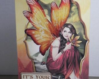 Autumn Fairy Birthday card