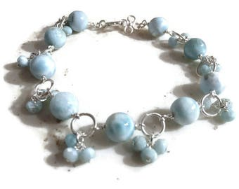 Larimar Bracelet - Blue Gemstone Jewellery - Sterling Silver Jewelry - Beaded - Pastel