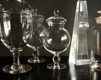 Glass display jar, hand blown glass, candy jar, pedestal apothecary glass jar, Christmas display jar