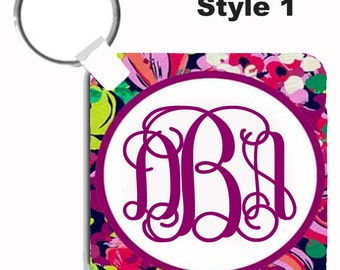 Personalized Key Chain - Monogrammed Keychain- Perfect Sweet Sixteen Gift - Lilly Inspired Wild