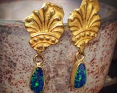 Gold Fragment Boulder opal earrings, recycled 18 karat yellow gold