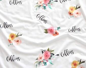 Customized Name Blanket, Lightweight Swaddle blanket, newborn preemie, baby girl, Nursery decor minimalist, floral flowers Bohemian