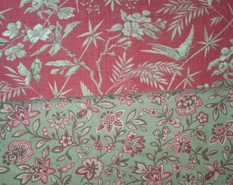 LA Belle fluer by French General  for Moda birds and branches on red background with tan birds and branches