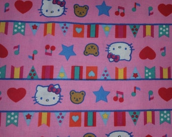 Hello kitty licensed by Sanrio pink  background with bunting flag, hello kitty, music notes rare oop