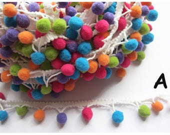 "5y 1/2"" Pom Pom Trim Pom Pom Ball fringe Trim Ribbon Sewing-multicolor(U PICK)"