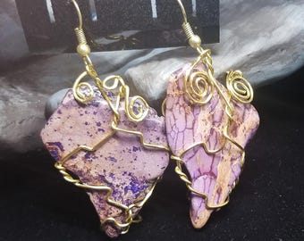 Jasper Gemstone Dangle Earrings - Gold Wire Wrapped Hook Earrings - Purple Earrings - Lavender Earrings - Funky Jasper Earrings - Gold Swirl