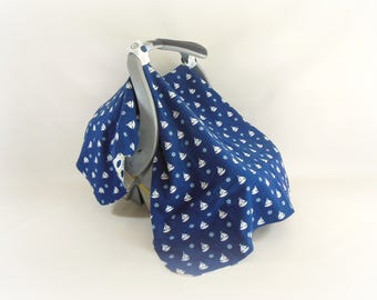 Car Seat Canopy, Car Seat Cover, Cart Cover, Play Blanket in Sailboats and Nautical Prints