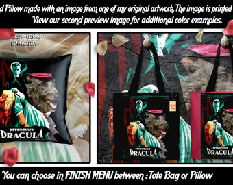 Scottish Deerhound Pillow or Tote Bag/Scottish Deerhound Art/Dog Tote Bag/Dog Pillow/Dog Art/Custom Dog Portrait - Dracula Movie Poster