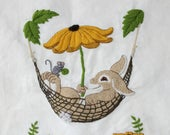 Vintage Finished Crewel Embroidery Picture Bunny Rabbit in Hammock , Unframed Finished Hand Stitched Bunny and Daisies Crewel on White Linen