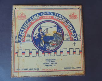 """Vintage Advertising tin sign clothespin clothesline Laundry metal 9"""" x 9"""""""