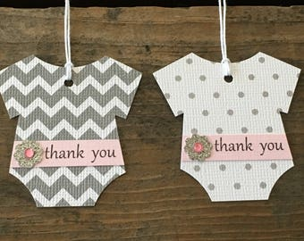 Set of 12 Gray Chevron And Polka Dot Bodysuit Tags With Thank You Light Pink Belly Band And Glittery Silver Flower - Baby Shower Favor Tags