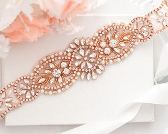 Rose Gold Bridal Crystal, Pearl sash. Rhinestone Applique Wedding Belt,vintage sash belt