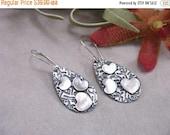 ON SALE Sterling Silver Heart Earrings Metal Clay PMC