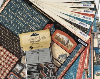 Graphic 45 Cityscapes Collection includes 8-12X12 papers in the line, a 12X12 sticker sheet, one stamp set Cityscapes 3, for scrapbooking