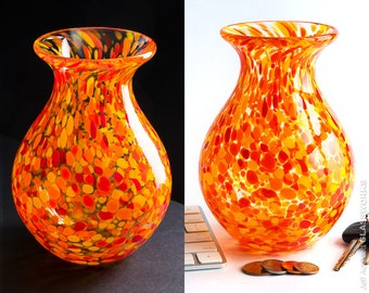 Hand Blown Glass Vase with Hot Yellow Orange and Red Dots