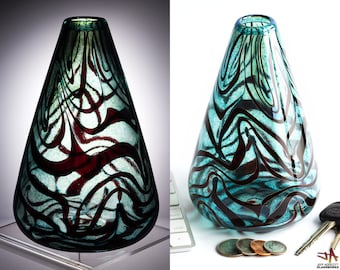Hand Blown Art Glass Bud Vase - Silver Emerald Green Cone with Ruby Squiggles