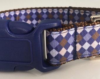 Navy & Brown Diamond Adjustable Dog Collar / Preppy Dog Collar