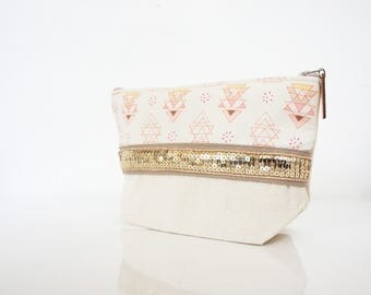 "Boho make up case made in cotton ""Pichu""// purse // bathroom"