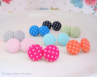 Polka Dot Button Earrings, Button Studs, Button Jewelry,Fabric Button Earrings, Polka Dot Earrings,Polka Dot Studs,Fabric Jewelry,Polka Dots