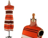 SALE Vintage 1960's Mod Orange + Brown Pin Stripe Shift Scooter Op Art Mini Knit Dress M