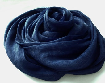 Dark blue scarf, navy blue scarf, chiffon scarf, blue accessories, navy blue color, rich blue scarf, women scarves, gift ideas, for her