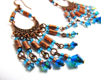 "Chandelier Earrings - Blue Swarovski crysatals, antique copper and blue gypsy dangle earrings - 2.5"" (6cm)"