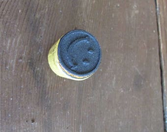 """Vintage Smiley Face Stamp 1"""" across"""