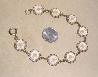 Vintage Cut Crystal Glass Bracelet 1940's Jewelry 10017