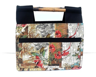 Asian Market Bag, Shopping Tote, Craft Tote, Laptop Bag, Bamboo Handles, Outside Pockets, Oriental Fabric, Ready to Ship, Free Shipping