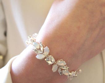 Opal, Clear and Silver Crystal Bridal Bracelet   -  Sparkling Silver and White Wedding Crystal  Bracelet.