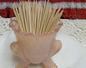 Vintage Pink Frosted Satin Glass Toothpick Holder Art Glass Cabriole Leg Delicate Feminine Pretty Pink Toothpick Holder 1990