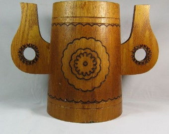 Vintage Large Primitive Staved Wooden Stein Mug Tankard with 2 Unusual Carved Handles Pyrography Decor Heavy Holder