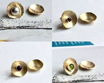 Bronze Earring Jacket, Ear Jacket Earring, Gold Ear Jacket, Girlfriend Gift Earrings, Ear Jacket, Artisan, Earring Jackets, Cupped Jacket