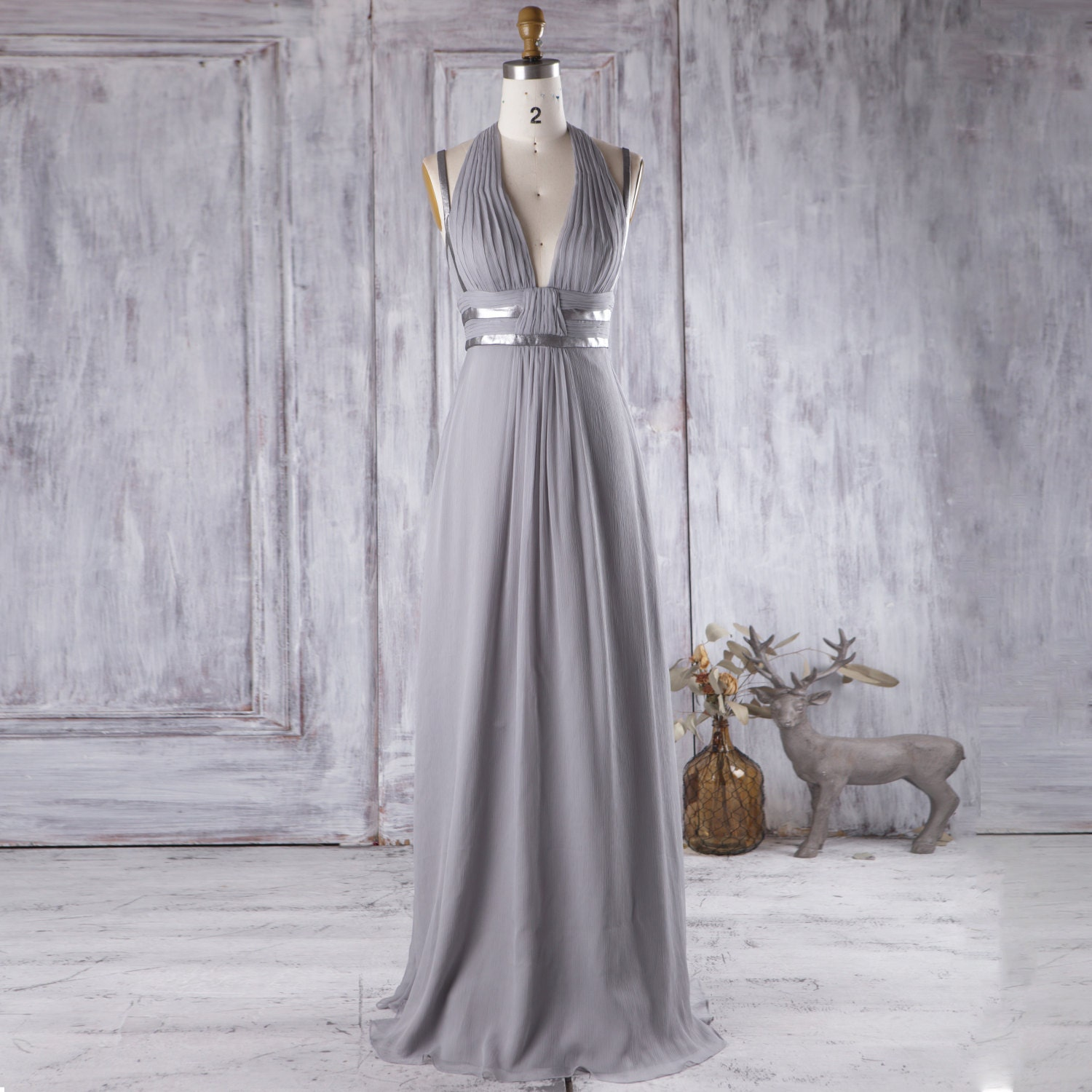 2016 light gray bridesmaid dress with silver belt v by for Light grey wedding dress