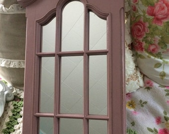Window style ornate mirror, Vintage pink, shabby chic, foyer mirror, accent mirror