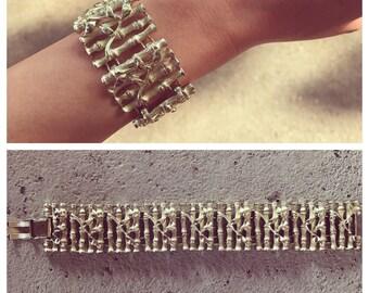 Vintage bamboo design gold bracelet