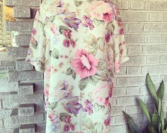 Vintage 1980s sheer floral blouse