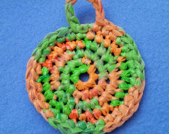 Green and Orange Plarn Dish Scrubby, recycled Babies R Us plastic bags