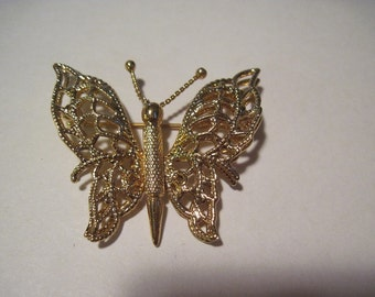 Monet Gold Tone Butterfly Brooch Pin Designer Signed Insect Bug