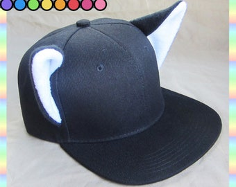 Black Cat Snapback Cap with COLORFUL Kitty Ears