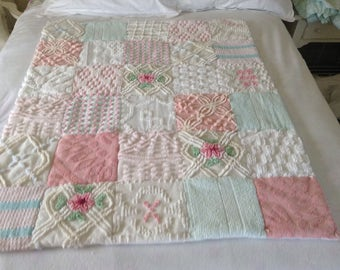 Quilt Chenille Vintage Bedspread Baby Blanket or Lap Throw by Shuggie's Attic