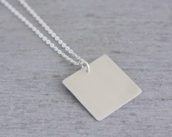 Square Silver Necklace, Square Sterling Necklace, Square Necklace, Geometric Silver Jewellery handmade in Sydney Australia : SsqNlP