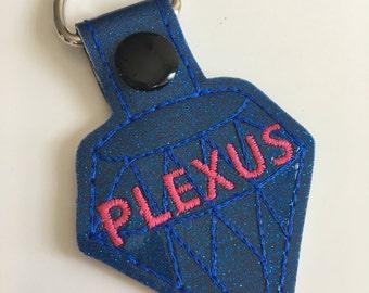 Plexus Jewel KeyChain, Snap Tab Key Fob in Sapphire with Plexus in Pink