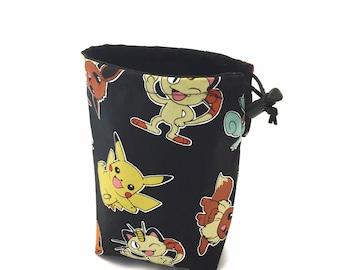 Pokémon, Dice Bag, Draw String Bag, Free Standing, Revisable, Gamer Bag, D&D Dice Bag, Makeup Bag, Small Gift Bag, Pouch, RTS