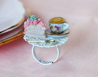 Tea Party Ring - Tea Time  Ring - Pink Cake Jewelry - Princess Ring - Food Jewelry - Tea cup and cake Jewelry - Tea Cup Ring - Xmas Gift
