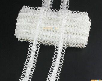 Terylene Lace Trim White Lace Trim Floral Lace Ribbon 1.5cm Width -- 5 Yards (LACE544)