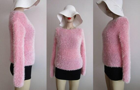 Women Fuzzy Sweater Vintage Pink Fuzzy Sweater 90s Sweaters