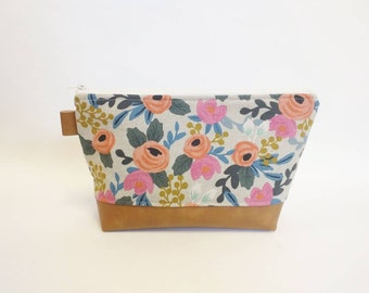 Fall floral makeup bag with brown faux leather