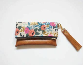 Floral clutch with brown faux leather