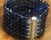Blue Swarovski Crystal Cuff Bracelet, Blue Cuff, Crystal Cuff, Wedding Bracelet, Bridal Jewelry, Wide Cuff, Swarovski (WR62)